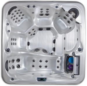 Grand Bahama 6 seat 8 foot hot tub with lounge seat