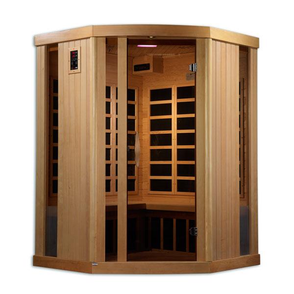 Three person ultra low EMF infrared sauna corner unit