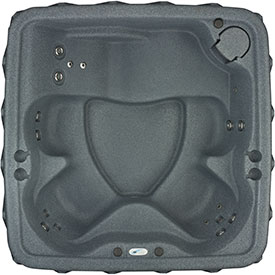 6 person grey hot tub with lounge seat from Dream Maker Spas
