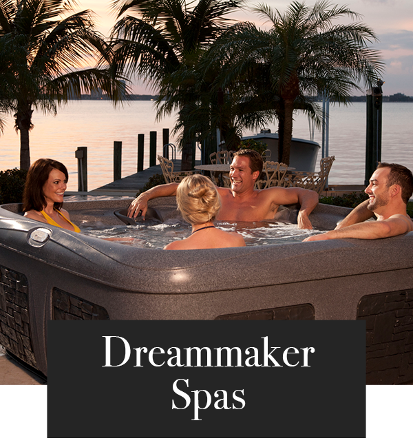 Friends relaxing in 4 seat Dream Maker hot tub
