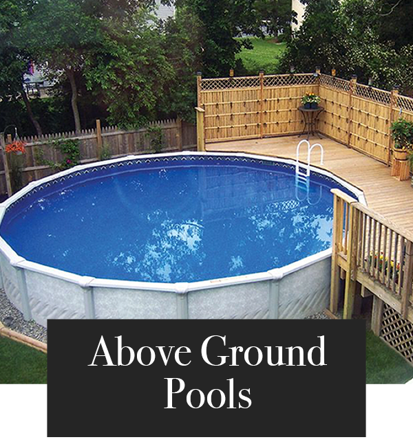 Round Above Ground Pool next to deck